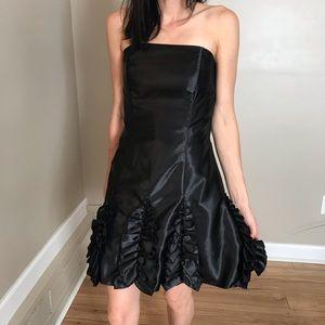Jessica McClintock Black Ruffle Strapless Dress